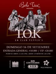 T.O.K en Club Peppers | Dom 16 Sep (Todo Público*)